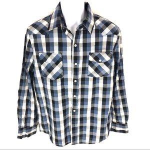 Anchor Blue Mens Blue Button Shirt L